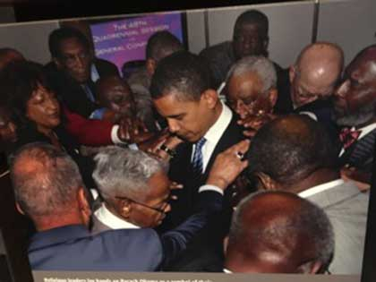 Blessings to the next generation - President Obama with elders.