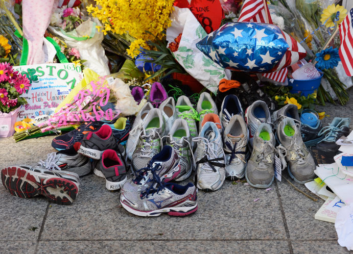 tennis shoe memorial to the victims of the bombing, by Getty Images.